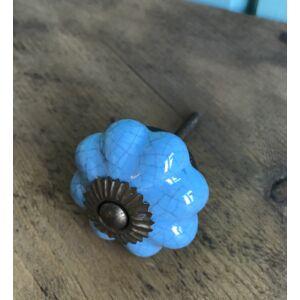 Kerámia bútorgomb kék mintás