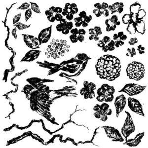 IOD Birds Branches Blossoms 30X30 CM - dekor pecsét